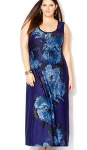 Avenue Blue Floral Sleeveless Maxi Size 14/16